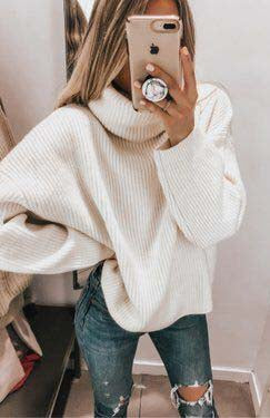 Casual easy turtlenecck sweater knitted sweater