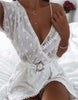 Deep V Neck Chiffon Romper with Belt