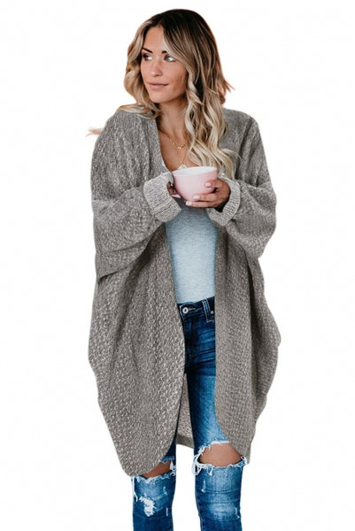 Gray Batwing Sleeve Cardigan