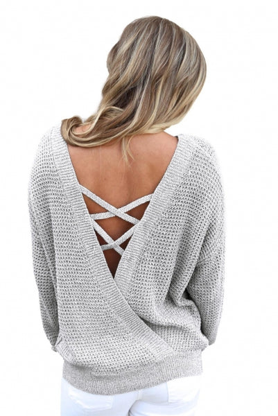 Gray Cross Back Hollow-out Sweater