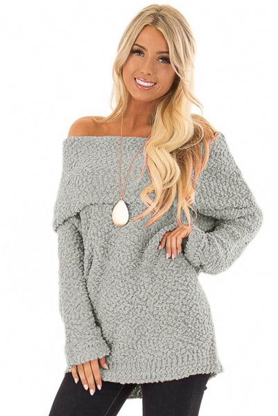 Gray Off The Shoulder Comfy Sweater