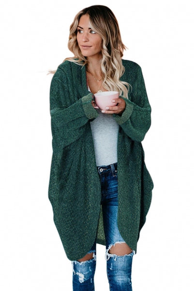 Green Batwing Sleeve Cardigan