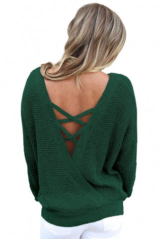 Green Cross Back Hollow-out Sweater