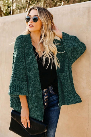 Green Norway Chenille Pocketed Cardigan