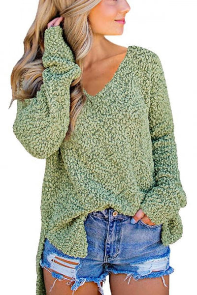 Green V Neck Popcorn Texture Loose Fit Sweater