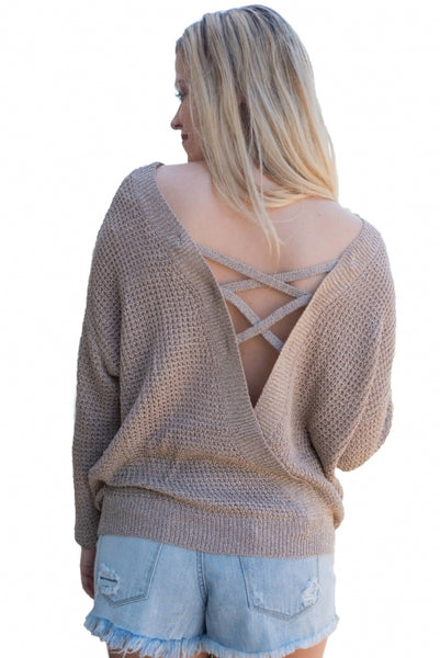 Khaki Cross Back Hollow-out Sweater