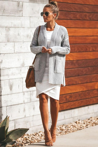 Light Gray Shawl Neckline Long Sleeve Cardigan with Pocket