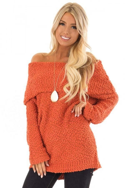 Orange Off The Shoulder Comfy Sweater