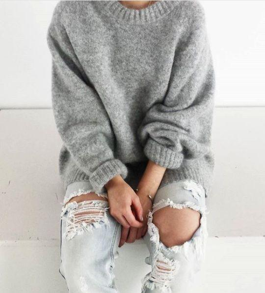 65de1414f Oversized Scoop Neck Loose Fit Chunky Knit Sweater