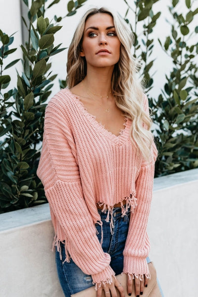 Pink Tainted Love Cotton Distressed Sweater