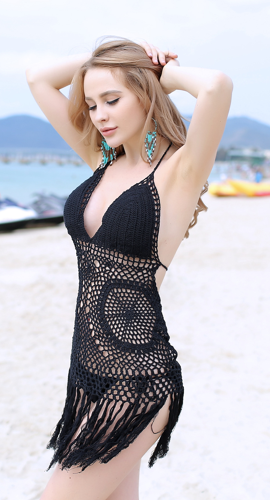 Women's Sexy Halter Knitted Bikini Swimsuit Hollow out Bikini Swimwear/ Tassels
