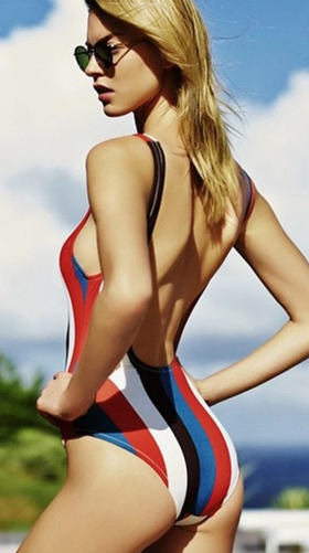 Hot Colorful Striped Swimsuit/Beach Style