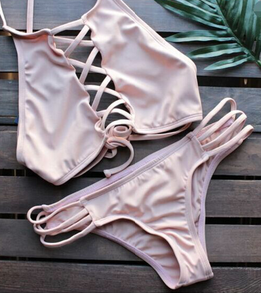 Causal Pink Straped Bikini Sets