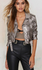 Women's Casual/Daily Street chic Leather Jackets Solid /  PU Silver