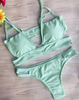 Women Sexy Green Strapped Hollow Out Bikini Sets
