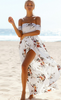 Women Causal Strapless Printing Long Dresses