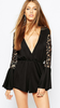 Women Sexy Black V-neck Lace Flare Sleeve Romper