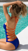 Women Halter Color Block Strappy Hollow Out Swim Wear