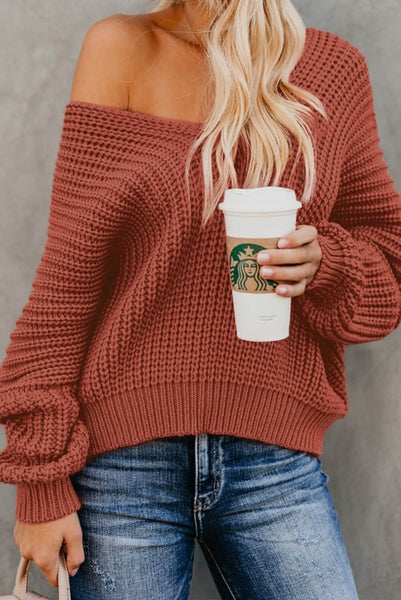 Red Carry On Knit V Neck Pullover Sweater