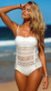 White Lace Halter Swimsuit