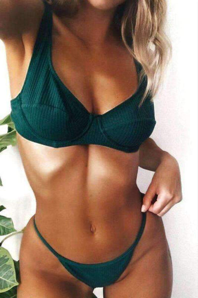 Simple Solid Color 2 Pieces Bikini Set