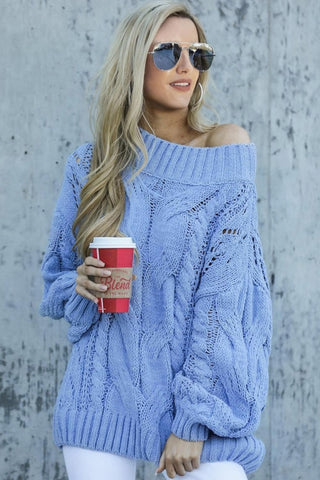 Sky Blue Chunky Oversized Pullover Sweater