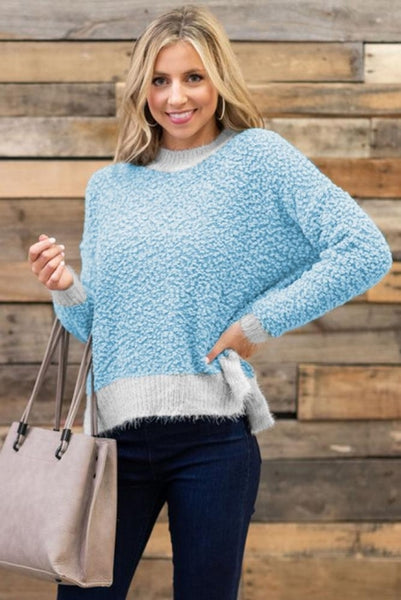 Sky Blue Popcorn Sweater