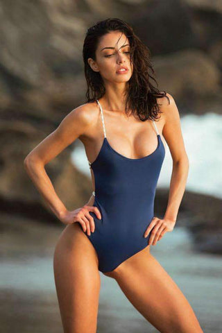 Solid Color Back Bandage One-Piece Swimsuit