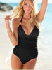 Black Mesh-Strap Ruched Swimsuit