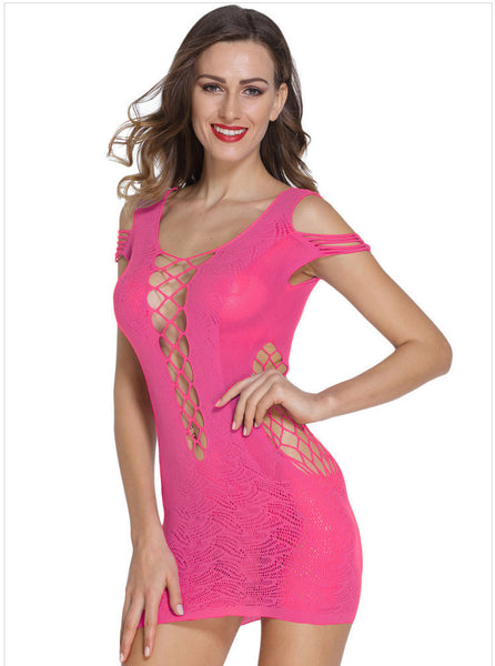 Sexy Women's Cold Shoulder Hollow Out Sleepwear Lingerie Dress