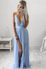 Sexy Halter Deep V Neck Solid Color Maxi Dress
