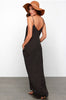 Oversize Halter Dot V neck Dress
