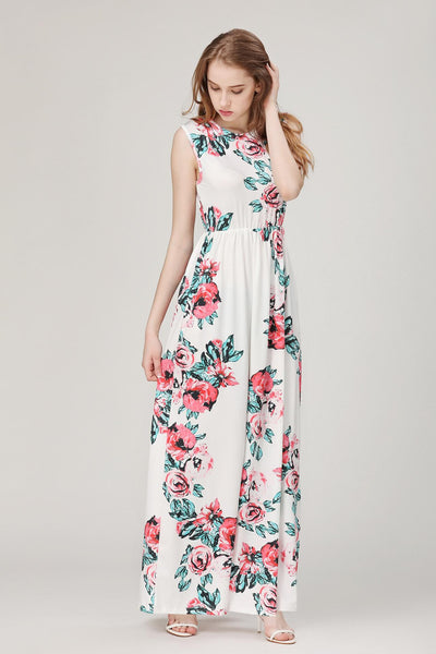 Living In Lights Sleeve less Floral Maxi Dress