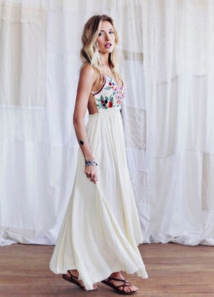 V neck Ecstatic Floral Print Maxi Dress