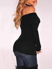 Trendy Women Off Shoulder Split Knitted Top
