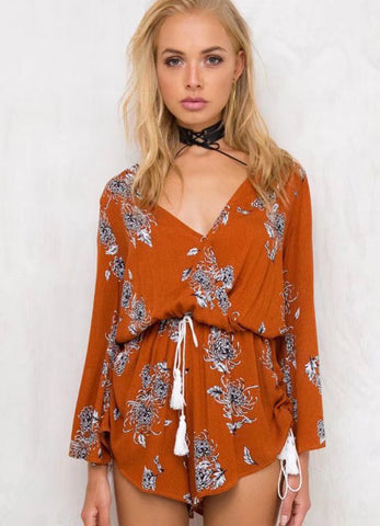 V Neck Floral Print Long Sleeve Romper