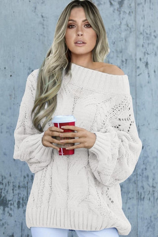 White Chunky Oversized Pullover Sweater
