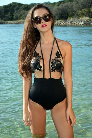 halter floral mesh patchwork sheer one-piece swimsuit