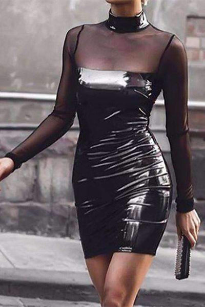 Mock Neck PU Patchwork Mesh Sheer Bodycon Dress