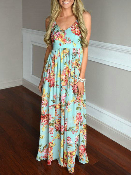 Love Story Floral Print Open Back Maxi Dress