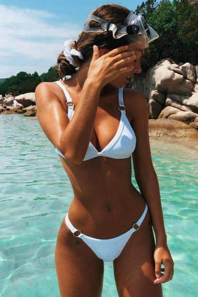 Simple Solid Color Triangle Bikini Set