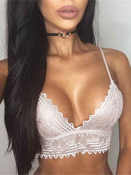 Alluring Strappy Lace Scalloped Bra Lingerie