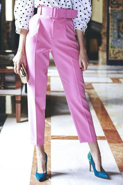 Rose Straight Pants With Belt