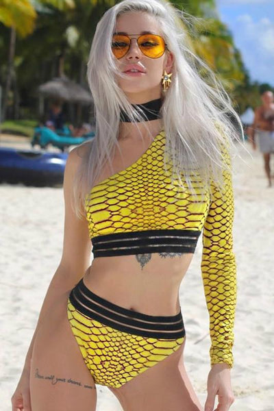 Sexy Snake Print Choker 2 Pieces Swimsuit
