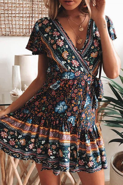 Boho Printed V Neck A-Line Dress