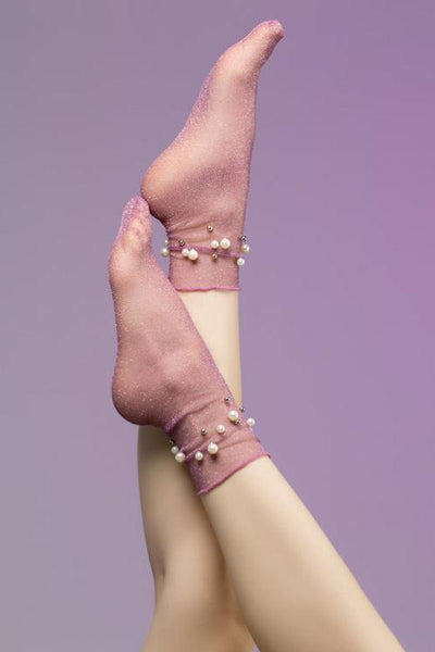Pearls Beads Tulle Socks