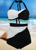 2 Piece Color Block Halter Top High Waist Bottom Swimwear