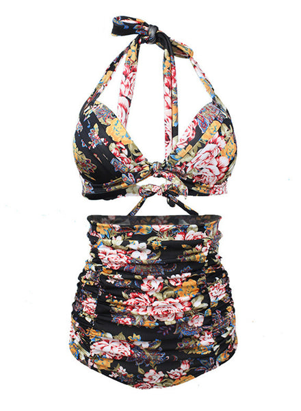 2 Piece Floral Printed Halter Top High Waist Bottom Swimwear