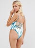 Bandage Hollow out One Piece Printed Swimsuit