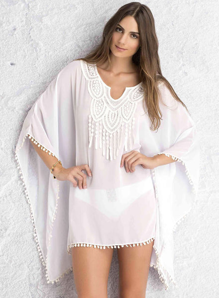 Batwing Sleeve Chiffon Cover-up Bikini Swimwear